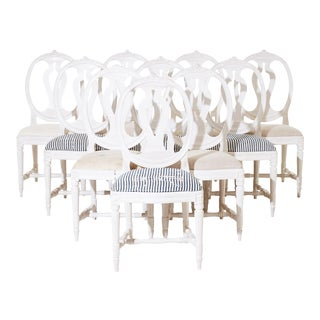 Single Rose Bud Gustavian Chairs - Set of 10 For Sale