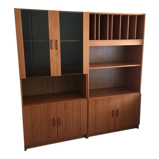 New Furniture Mid-Century Danish Teak 2-Piece Wall System For Sale