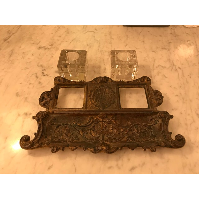Antique Gold Gilt, Cast Iron Double Inkwell, With Pen Tray For Sale - Image 4 of 7