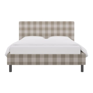 Queen Tailored Platform Bed in Ivory Check For Sale