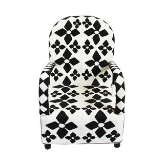 African Yoruba Black & White Beaded Arm Chair