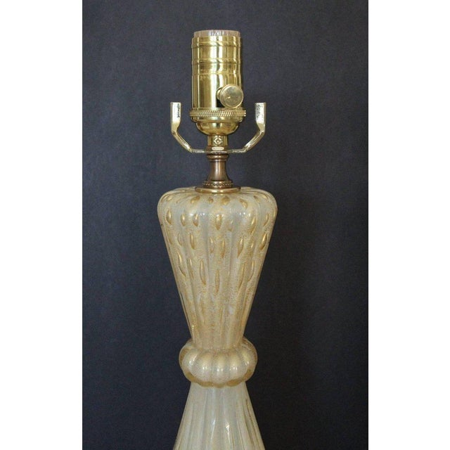 Gold 1950s Italian Arovier E Toso Gold Opalescent Murano Table Lamps - a Pair For Sale - Image 8 of 13