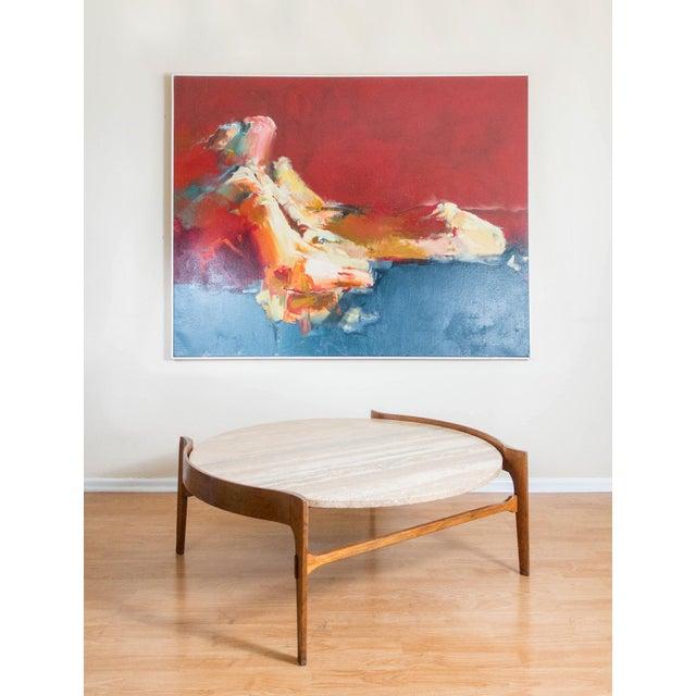 1950s Bertha Schaefer Travertine & Walnut Coffee Table For Sale - Image 5 of 12
