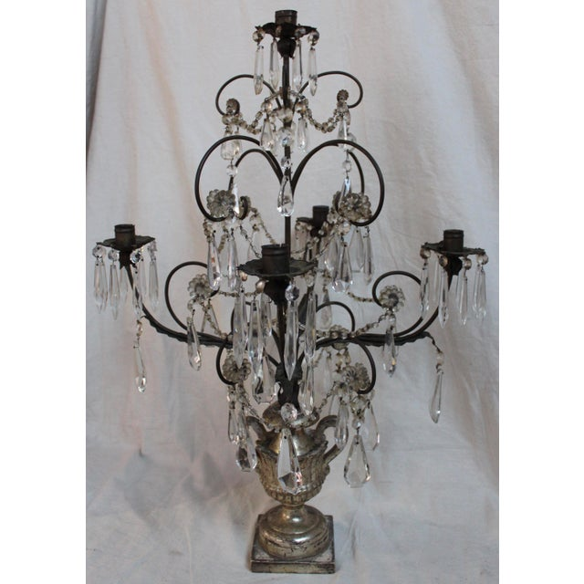 Antique Italian Five Light Candelabra For Sale - Image 4 of 9