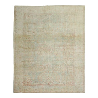 Late 19th Century Sea Foam Green Antique Rug, 10'5'' X 13'7'' For Sale