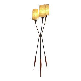 1950s Gerald Thurston Floor Lamp for Lightolier With Shades For Sale