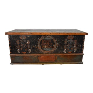 Pennsylvania German Painted and Decorated Chest Over 3 Drawers For Sale