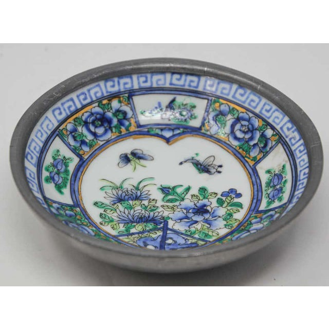 Late 20th Century Vintage Blue and White Porcelain Bowl, Catchall Encased in Pewter For Sale - Image 5 of 13