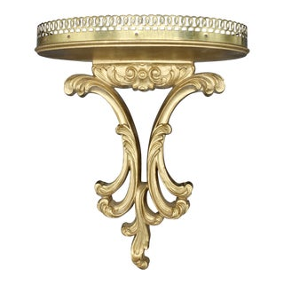 Italian Florentine Golden Gilt Wooden Wall Shelf With Gallery (Available Pair) For Sale