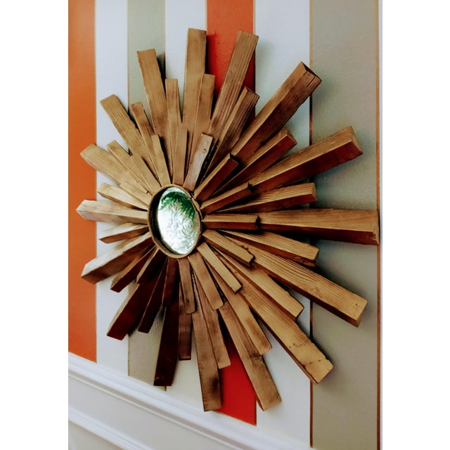 Large Solid Wood Carved Painted Gold Starburst Wall Mirror For Sale In West Palm - Image 6 of 7
