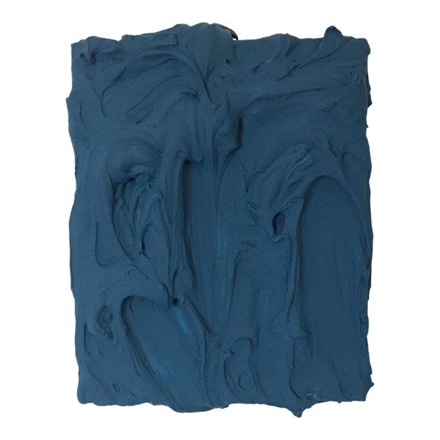 Deep Teal Excess Sculptural Painting For Sale