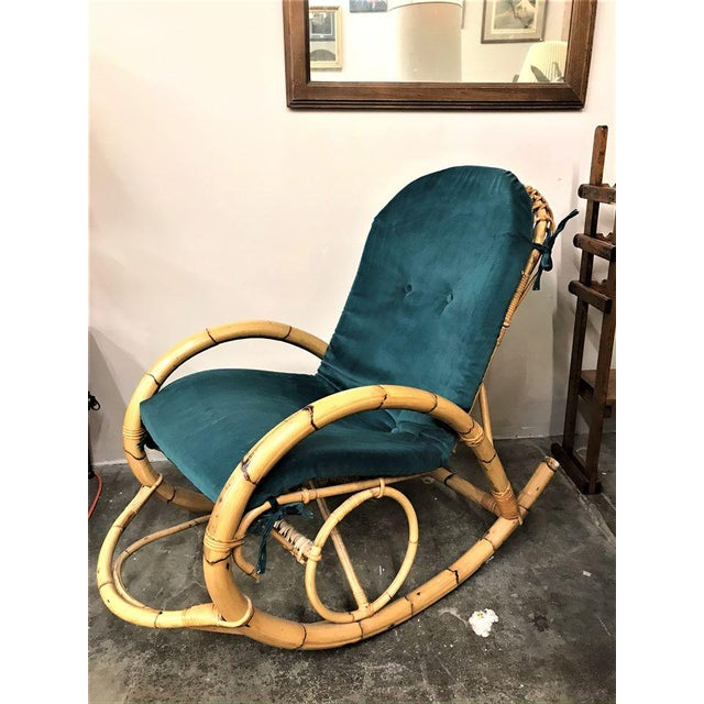 1960s Franco Albini Rattan Bamboo Rocking Chair For Sale - Image 11 of 11