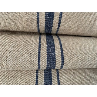 Antique Homespun Blue Stripes Twill Weave Caramel Toned Linen By The Yard For Sale