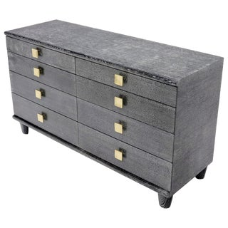 Cerused Oak Black and White Eight Drawers Dresser with Brass Pulls For Sale