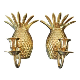 Vintage Brass Pineapple Wall Sconce Candle Holders - a Pair For Sale
