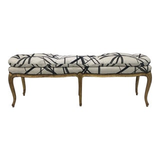 1940s Vintage Custom Upholstered Bench For Sale