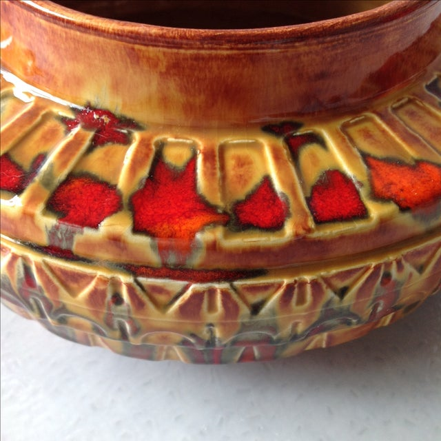 "1970s Brown and Red ""UFO"" Ceramic Planter - Image 6 of 11"