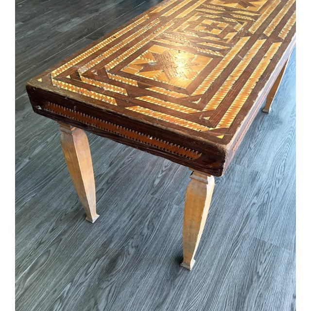 Vintage Folk Art Wood Inlay Bench - Image 8 of 8