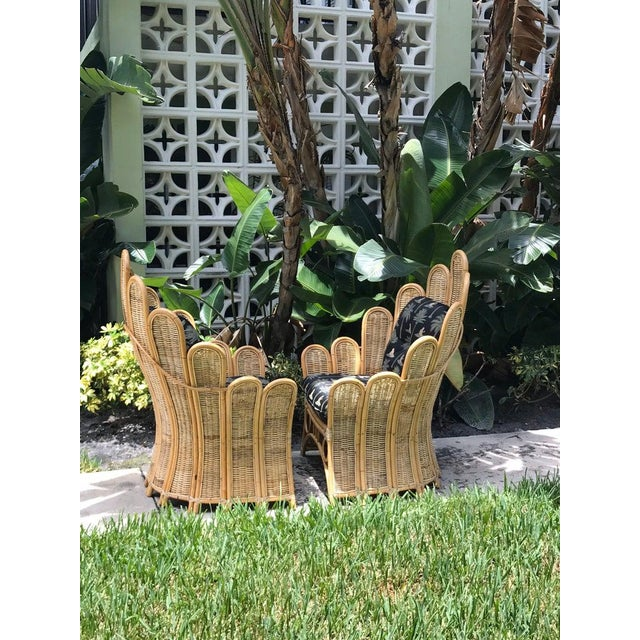 Hollywood Regency Vintage Rattan Palm Frond Chairs With Unused Monkey Embroidered Upholstery ( White Reflections on Fabric Is Camera) Green at Feet Is Grass - a Pair For Sale - Image 3 of 7