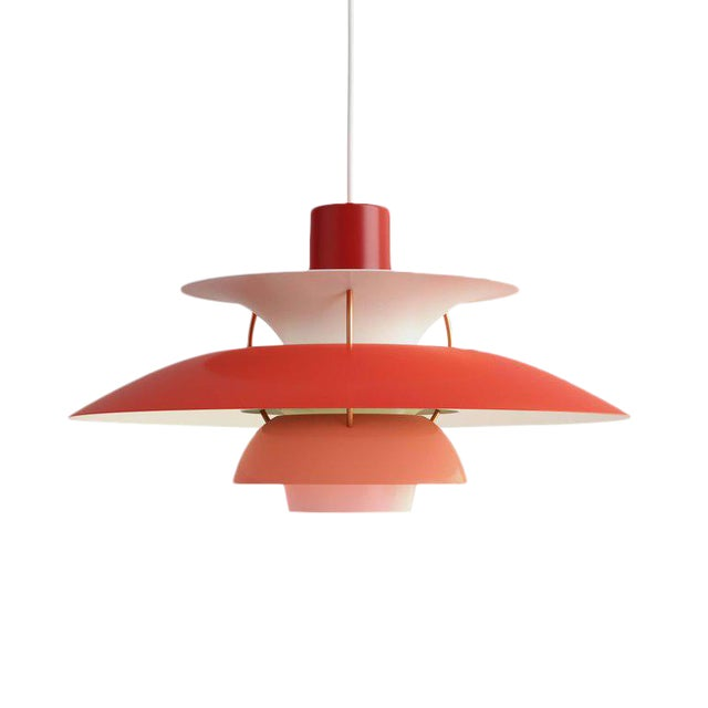 Poul Henningsen Ph 5 Pendant for Louis Poulsen in Red For Sale