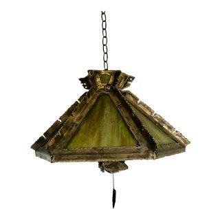 Brass & Glass Brutalist Pendant Light For Sale