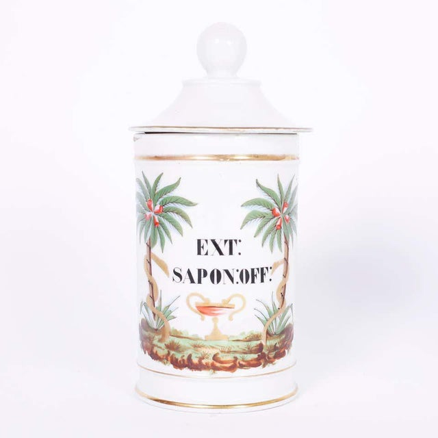 Pair of porcelain apothecary lidded jars with classic form, hand decorated with palm trees, snakes, urns and labeled in...
