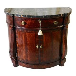 Henredon Natchez Demilune Console With Marble Top For Sale