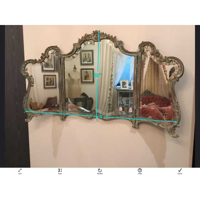 Wood Antique Wood Carved Triptych Mirror For Sale - Image 7 of 11