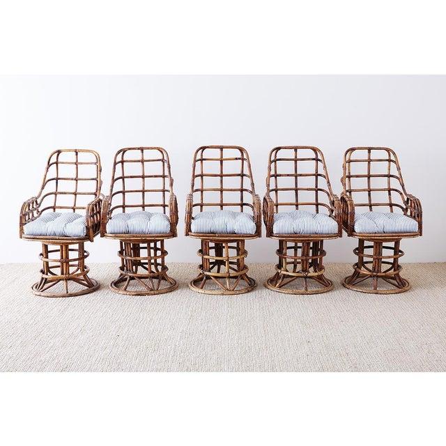 Franco Albini Franco Albini Style Bamboo Rattan Swivel Lounge Chairs For Sale - Image 4 of 13