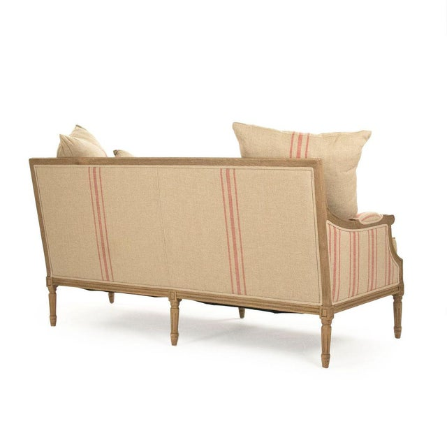 French Country Audley Sofa in Khaki Linen with Red Stripes For Sale - Image 3 of 5