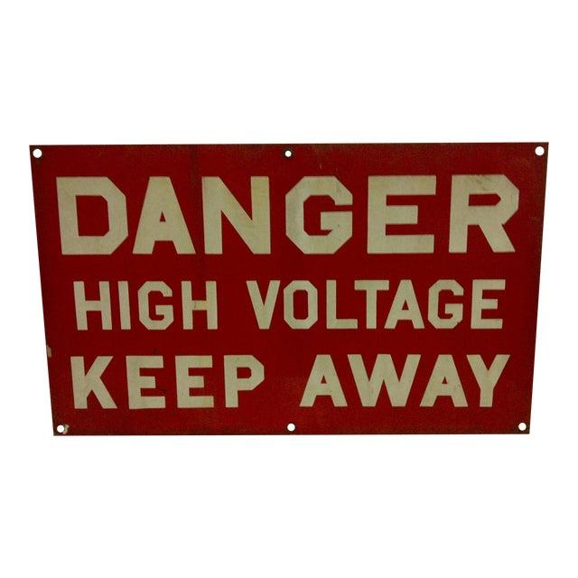 """Vintage Porcelain Sign """"Danger High Voltage Keep Away"""" - Image 1 of 6"""