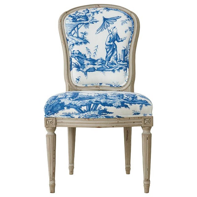 Wood 18th Century French Side Chair Upholstered in Schumacher Fabric For Sale - Image 7 of 7