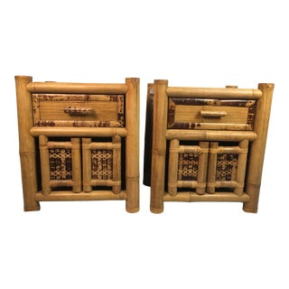 1960s Boho Chic Bamboo Nightstands - a Pair For Sale