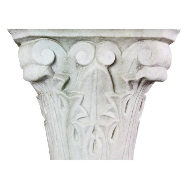 Italian Carrara and Antico Verde Marble Column For Sale - Image 4 of 10