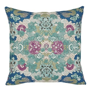 Schumacher Magic Mountain Dragon Pillow in Blue For Sale