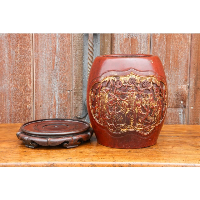 Wood Shou Lao Carved Barrel Container on a Stand For Sale - Image 7 of 11