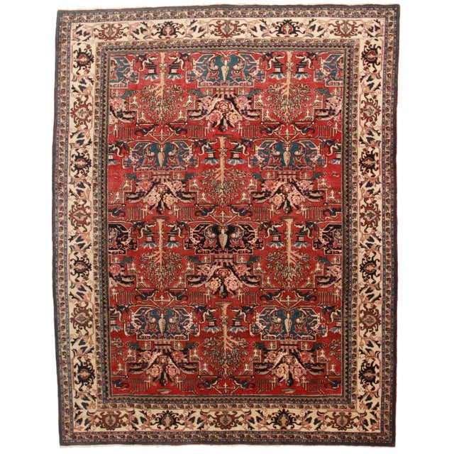 "RugsinDallas Hand Knotted Wool Persian Hariz Rug - 7'10"" X 10'5 For Sale"