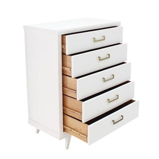 White Lacquer Mid Century Modern High Chest For Sale