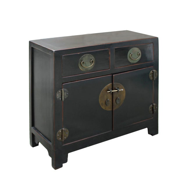 2000 - 2009 Vintage Distressed Black Lacquer Oriental Chinese Side Table Cabinet For Sale - Image 5 of 8
