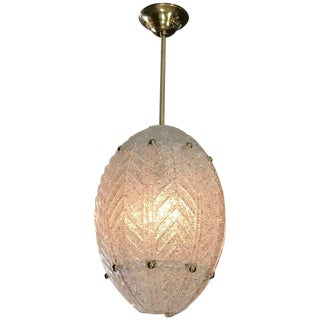 1950s Vintage Barovier Murano Glass Leaf Panel Pendant Light For Sale