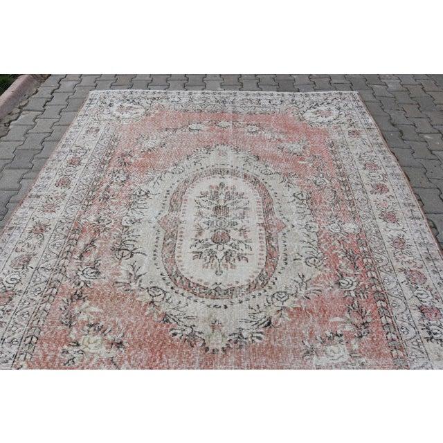 Nomadic Antique Handmade Muted Anatolian Faded Salmon Carpet - 6′9″ × 9′2″ - Image 4 of 10