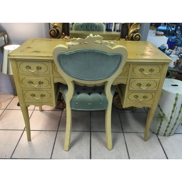 Shabby Chic 1970's Yellow Hand Painted Roses Floral Vanity & Chair For Sale - Image 3 of 10
