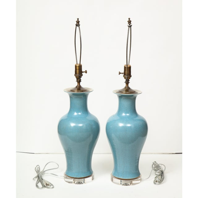 Crackle Glazed Blue Vase Lamps - A Pair For Sale - Image 11 of 13