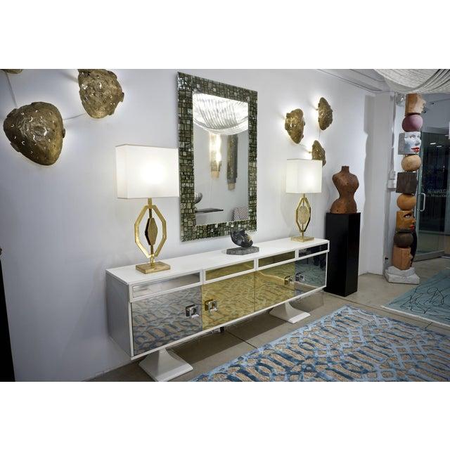 Modern Italian Green, Cream, Caramel, White and Black Murano Glass Mosaic Mirror For Sale - Image 4 of 9