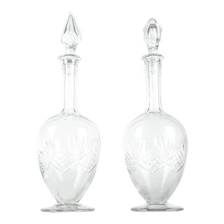 Vintage Pair Cut Crystal Drinks Decanter For Sale