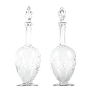 Vintage Pair Cut Crystal Drinks Decanter