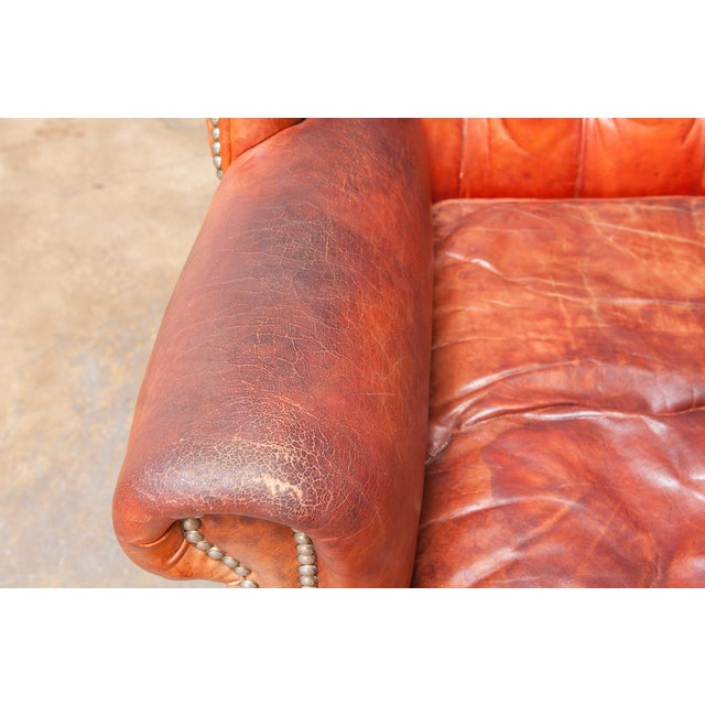 English Cigar Leather Tufted Wing Chairs - Pair - Image 5 of 10