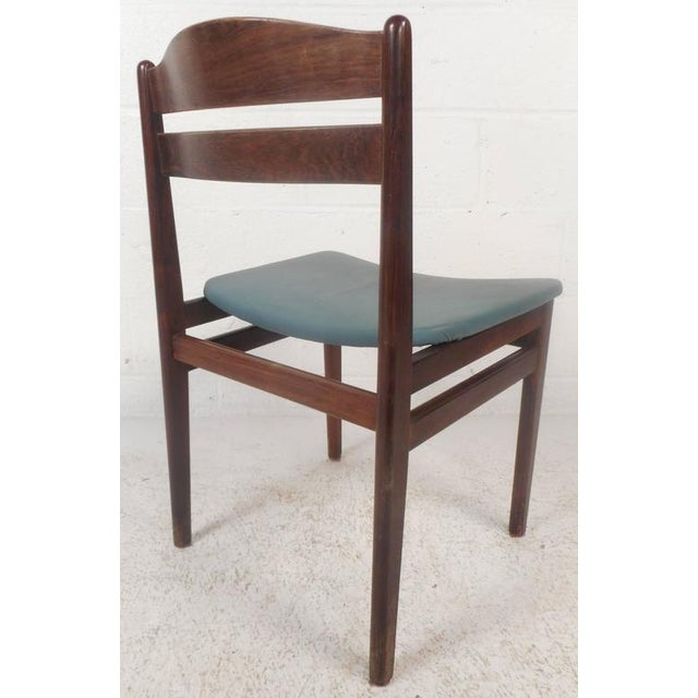 1960s Set of Four Mid-Century Modern Danish Rosewood Dining Chairs with Leather Seats For Sale - Image 5 of 11