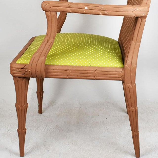 Late 20th Century Faux Bois Chair With Cane Back and Green Upholstered Armchair For Sale - Image 5 of 6