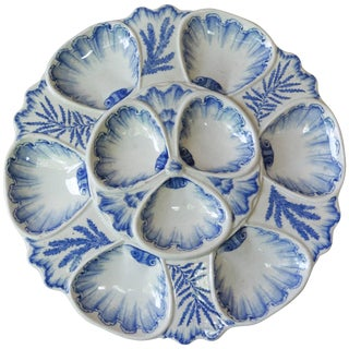 19th Century Vieillard Bordeaux Blue and White Oyster Plate